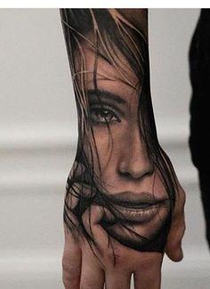 Girl Face Tattoo, Girl Arm Tattoos, Hand Tattoos For Guys, Face Tattoos, Badass Tattoos, Leg Tattoos, Body Art Tattoos, Tatoos, Portrait Tattoo Sleeve