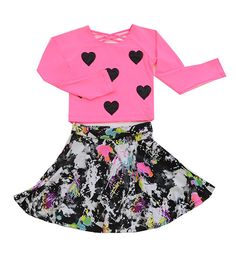 Flowers by Zoe Splatter Paint Skirt and Heart Top PREORDER $96.00