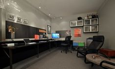 Awesome Office Spaces | Deuce Group » Garage converted to an awesome sleek office space. three over two wall cabinets