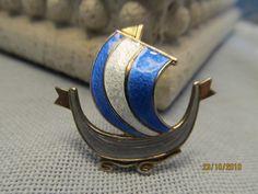 Holmsen Sterling Enamel Viking Ship Blue by AstridsPastTimes