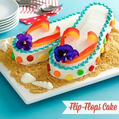 Flip flop cake. The band part is airhead candy.