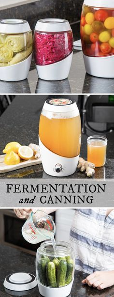 Glass pickle jars work great, but this is pretty cool!  Mortier Pilon's home fermentation crock, discovered by The Grommet, keeps air out but lets gases escape. Ferment your own nutrient-rich foods, in style.
