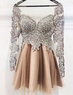luxurious beaded homecoming dresses , champagne short tulle prom dresses, dresses for women, cheap homecoming dresses, prom dresses with long sleeves, unique prom dresses 2017