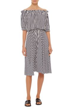 Slim Smocked Dress by MDS STRIPES Now Available on Moda Operandi