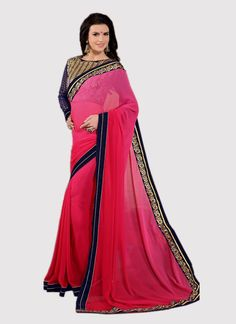Buy saree online. Customization and free shipping worldwide. Invaluable georgette designer saree for festival and party.