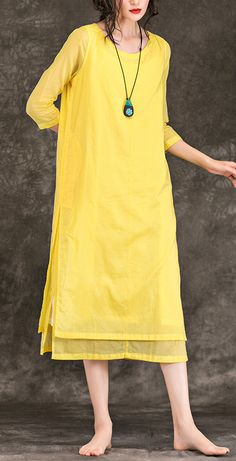 a8d8cb4199 Bohemian yellow Cotton Long dress o neck patchwork Midi Summer Dresses