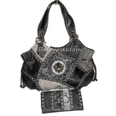 Designer Inspired Black Croc Embossed Gray Fleur De Lis Metal Studs Ostrich Patchwork Rhinestone L Wallet Satchel L Bag Handbag Purse Set « Clothing Impulse