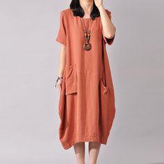 Short Sleeve Dress Large Size Dress - Buykud- 1