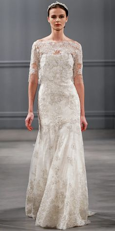 Monique Lhuillier Spring 2014: Ivory embroidered tulle bolero with ivory embroidered tulle strapless trumpet gown.