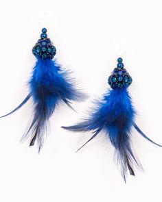 BLUE FEATHER DROP | cercei statement cu pene Blue Feather, Drop, Model, Jewelry, Jewlery, Bijoux, Scale Model, Schmuck