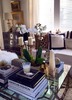 Palm Beach Style 6 - coffee table styling (p.s. the dog is so cute!!!)