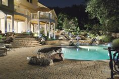 Athena paving stones by Techo-Bloc (available at The Stone Store) are used for this pool decking. Just beautiful! Landscaping Supplies, Pool Landscaping, Pool At Night, Outside Pool, Pool Images, Pool Picture, Beautiful Pools, Backyard Retreat, Rock Pools