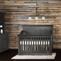 Evolur Napoli Black Wood 5 in 1 Convertible Crib (Distressed slate)