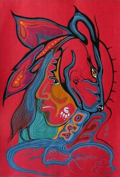Wolf Guardian, Moses Amik Beaver Native Canadian, Canadian Art, Aboriginal Artists, Native American Artists, Indigenous Art, Native Art, First Nations, Silk Scarves, Beautiful Artwork