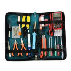 """WLXY WL-29 Handy Reparing Maintenance Tool Kit Set for Electronic Devices - Green + Blue. """"Color Green + Blue + Multi-Colored Brand WLXY Quantity 1 Set Material Canvas + plastic + 50# steel Other Features Multimeter2.0 LCD screen; powered by 1 x 9V 6F22 battery; IC A/D shift measurement; 2~3 times per second sampling rate; DC voltage measurement: 200m/2/20/200/600V; AC voltage measurement: 200/600V; DC current measurement: 200u/2m/20m/200m/10A; Resistance measurement: 200/2k/20k/200k/2M ohm…"""