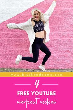 Are you like me? You love to work out but since you're trying to save some money this year, paying the membership dues at a gym are a little outside of your budget? Well, then, let me share with you 4 YouTube workouts that I do all the time! And the best part? They're free! Pin now, workout later! #workoutroutine #youtubeworkout #exerciseathome