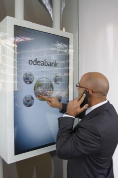New Generation Banking at Odeabank...  All branches of the bank were equipped with a number of digital screens.