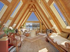 Temple of Light A-Frame, Sausalito A Frame Cabin, A Frame House, Small House Swoon, Temple Of Light, Floating House, Cabins In The Woods, House Goals, Little Houses, Home Buying