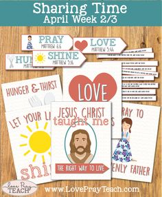 """LDS Primary Sharing Time April 2017 Week 2/3 """"Jesus Christ Taught Me the Right Way to Live"""" includes posters, scenario cards, charades arrows and more! www.LovePrayTeach.com"""