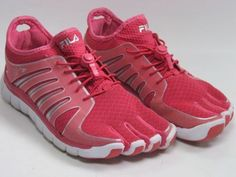 Fila Skele-Toes Women's Pink Silver Size 8.5 Medium Cinch Cord Laces