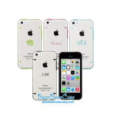iPhone 5c case, iPhone 5 5s case, iPhone 4 4s, Samsung S4 Transparent cover tpu clear hard case, personalized monogram name text custom case