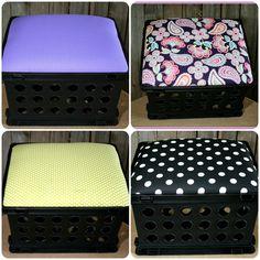 Custom crate seats to match teacher's classroom theme.