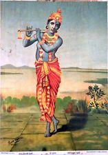 SHRI KRISHNA KRSNA - RAVI VARMA - Printed Signed LITHO PRINT - INDIA - HINDUISM