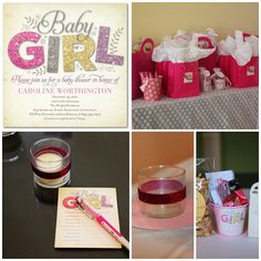 Baby girl shower invitation in glitter, pink, yellow and beige from http://blog.tinyprints.com