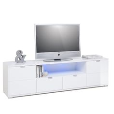 Burton Modern TV Stand In High Gloss White With LED,-260