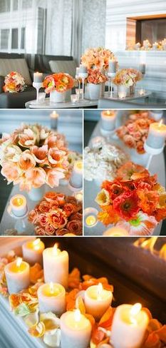 Table bouquets with candles. Mostly orange, coral, peach and white.