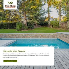 Check our beautiful collection of Natural stone paving, Pool copings and Accessories. Natural Stone Pavers, Paving Stones, Natural Stones, Coping Stone, Pool Coping, Pool Water, Swimming Pools, Backyard, Garden