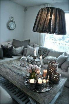 Sectional Sofa Decor Ideas With Lamps For Inspiration : Wohnzimmer Ideen Living Room Decor Colors Grey, Living Room White, Small Living Rooms, New Living Room, Decor Room, Living Room Designs, Home Decor, Sectional Sofa Decor, Living Room Sectional