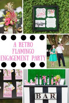Get inspired for a tropical celebration with this retro flamingo engagement party!