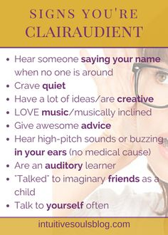 Signs You're Clairaudient http://intuitivesoulsblog.com - Pinned by The Mystic's Emporium on Etsy