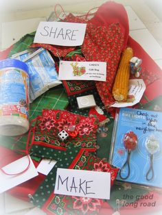 Reusable gift bags filled with items that represent family activities as part of our special Operation Christmas Presence!