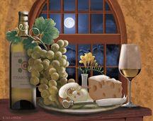 Moonlight Chardonnay (c) Rosiland Solomon via Porterfield's Fine Art Licensing. Decoupage Vintage, Decoupage Paper, Subject Of Art, Wine Images, Wine Art, Illustrations, Paint Shop, Vintage Walls, Pattern Wallpaper