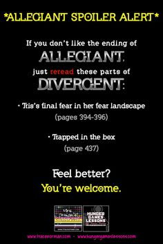 Re-read #Divergent and you can feel better about how #Allegiant ends. :)