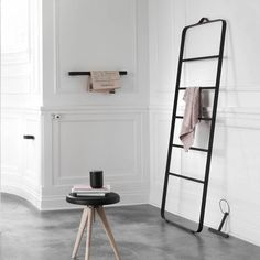 Towel bar designed by Norm Architects for Menu.  Colour: Black Material: Powder coated aluminium and plated zink alloy Size: H: 3,5 cm, W: 60 cm, D: 7 cm