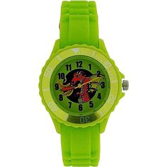 Tikkers Boys Lime Green Red Dragon Design Rubber / Silicone Strap Watch TK0054