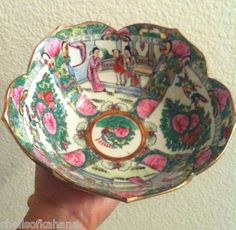 Antique Chinese Porcelain Bowl 20th Century Hand Painted Rare Stamped on Bottom.  Up for bid!