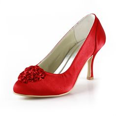 Flower Red Satin Wedding Pumps with Close Toes Shoes Size:35/36/37/38/39/40/41/42Shoes Color:White/Ivory/Champagne/Gold/Pink/Red/Burgundy/Royal Blue/Silver/BlackFeatures:PumpsOccasion:Wedding/Special OccasionSeason:Spring/FallToe Type:Close ToesHeel Type:Stiletto HeelHeight:7.6Material:SatinShown Color:RedEmbellishment:FlowerColor:Red Only $64.99…