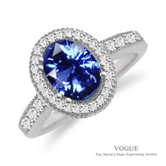 Look just like Kate Middleton, The Duchess of Cambridge in this blue gemstone and diamond ring set in 14k white gold by Vogue... #Vogue #celebrity #engagement #gemstones #rings