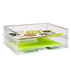 """Like-it® Landscape stacking Letter Tray from Container Store uses vertical space on standard depth shelving.  Each unit it 13.25"""" w x 10.25"""" d x 2.5"""" h"""