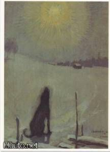 Koira ulvoo kuuta, Dog howling at the moon, 1899 - Pekka Halonen ( Pierre Auguste Renoir, Nocturne, Moritz Von Schwind, Imagen Natural, Howl At The Moon, Face Art, Dog Art, Impressionism, Pet Birds