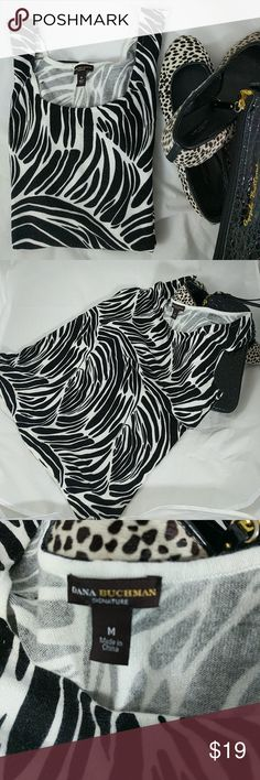 """Zebra Tank top M Excellent condition.  22"""" top to bottom; 18"""" arm pit to arm pit. Dana Buchman Tops Tank Tops"""