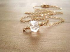 Herkimer Diamond Necklace Gold Filled Jewelry Herkimer Quartz Jewelry Geometric Minimalist Simple Modern Jewelry Bridal Wedding Gift Idea  A