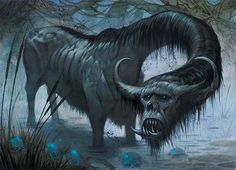 "The Katobleps is a four-legged bull-like creature from Ethiopia with a head that is large for its body, and blood-shot eyes that always look down.  (Catoblepas is Greek for ""that which looks downward.)  It has a ""high and thick"" eyelids, and a long hanging mane.  Like the Basilisk, it can kill any creature merely by looking at it."