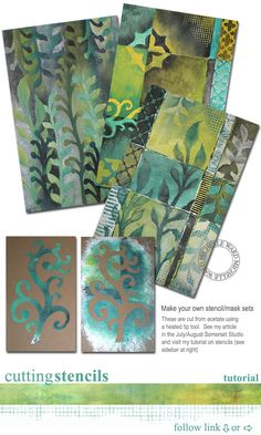 Stencil art how to cut stencils with wood burning tool, tyvek paper stencil cutting, Michelle Ward rubber stamp artist of many of the stampers anonymous stamps. (Stencils designs to cut KL) Craft Robo, Make Your Own Stencils, Making Stencils, Gelli Plate Printing, Stencil Printing, Gelli Arts, Stencil Art, Stenciling, Leaf Stencil