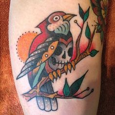 tattoo old school / traditional ink - bird skull (by Eli Falconette)