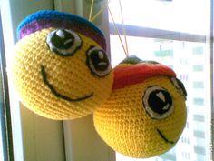 """Купить Смайлик вязаный крючком """"Улыбка"""" - желтый, смайлик, смайлики, игрушка ручной работы"""